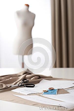 Fashion designer studio with mannequin