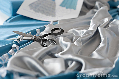 Fashion designer studio with scissors and tape