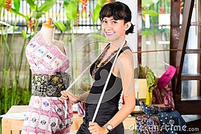 Fashion designer working at home