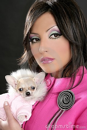 Fashion doll womn with chihuahua dog pink 1980s