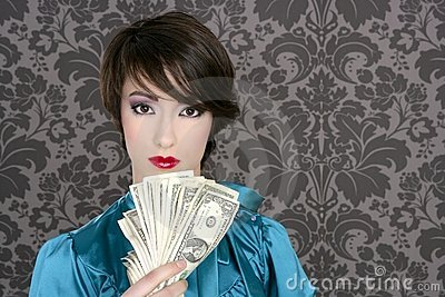Fashion dollar woman with many notes in hand