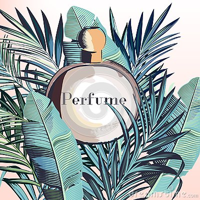 Free Fashion Elegant Vector Perfume With Tropical Palm Leaves Stock Photography - 129405322