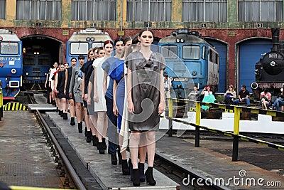 Fashion female models row Editorial Photo