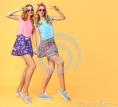 Free Fashion Funny Girl Crazy Having Fun, Dance.Friends Royalty Free Stock Photo - 76997255