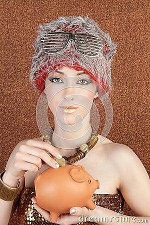 Fashion futuristic gold bronze woman piggybank