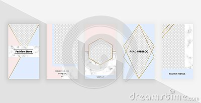 Fashion geometric templates for instagram stories, social media, flyers, card, poster, banner. Modern cover design with foil and m Vector Illustration