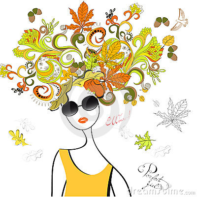Fashion girl with autumn hair