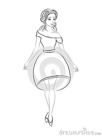 Fashion girl. Black and white sketch. Vector Illustration