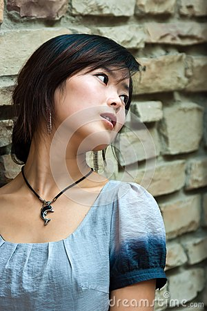 Fashion girl  on brick background