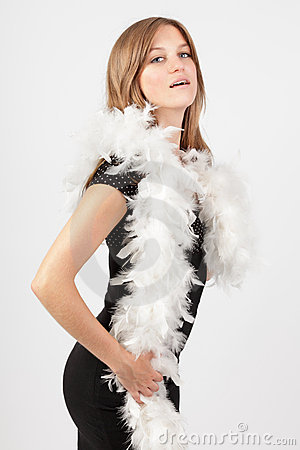 Fashion girl in feather boa