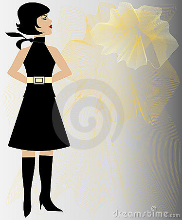 Fashion girl flower background
