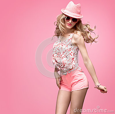 Free Fashion Girl Having Fun Crazy Dance. Pink Hat Royalty Free Stock Photo - 85335075