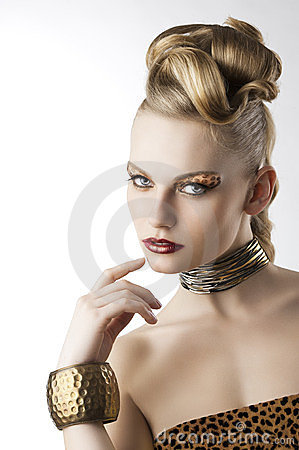 Fashion girl with leopard makeup,