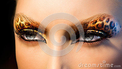 Fashion Girl with Leopard Makeup