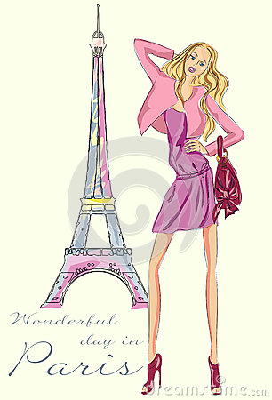 Fashion girl in paris near eiffel tower stock illustration image