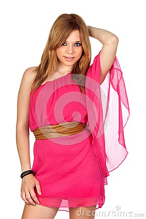 Fashion girl with pink dress