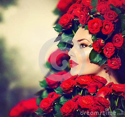 Free Fashion Girl Red Roses Hairstyle Stock Photo - 31454030