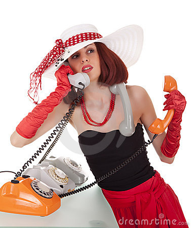 Fashion Girl In Retro Style With Vintage Phones Royalty Free Stock Photos - Image: 21904348