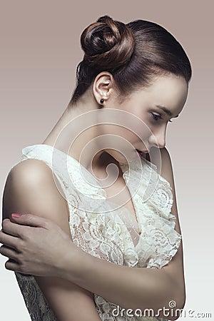 Fashion girl in romantic pose