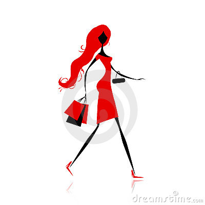 Fashion girl with shopping bags for your design