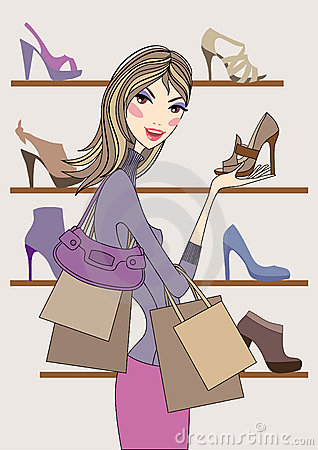 Fashion girl shopping in shoe shop, vector