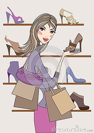 Fashion girl shopping in shoe shop, vector