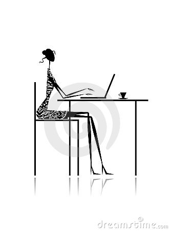 Fashion girl silhouette with laptop in cafe
