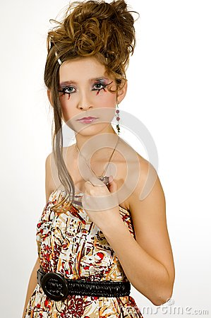 Fashion girl with special eye makeup