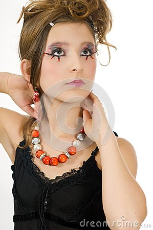 Fashion girl with special eye makeup and black top