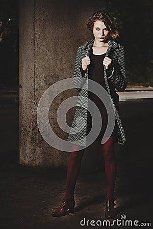 Free Fashion Girl Standing Under A Bridge Royalty Free Stock Photo - 33502175