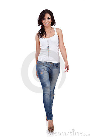 Free Fashion Girl Walking In Studio Stock Photography - 20186922