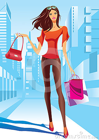 Fashion girl is walking on a street