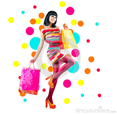 Free Fashion Girl With Shopping Bags Royalty Free Stock Photo - 53340385