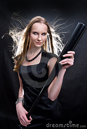 Free Fashion Girl With The Baseball Bat Stock Photography - 8008682
