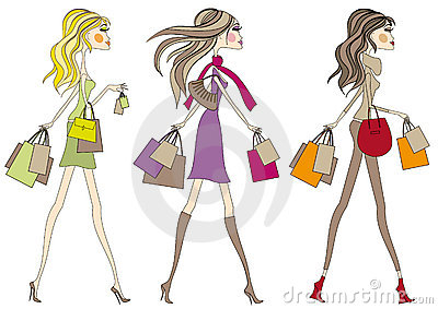 Fashion girls with shopping bags,