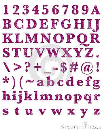 Fashion Glitter Pink Alphabet