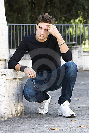 Fashion guy cool model outdoor