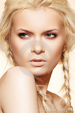 Fashion hairstyle, blond hair, braids & make-up