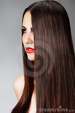 Free Fashion Hairstyle With Smooth Long Female Hair Royalty Free Stock Images - 15500289