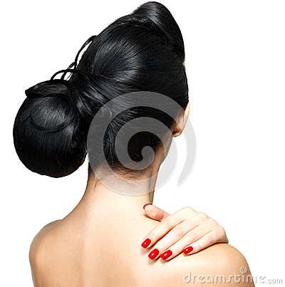 Fashion hairstyle of woman with red nails