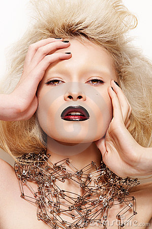 Free Fashion Halloween Looking. Model With Dark Lips Royalty Free Stock Photography - 16223237