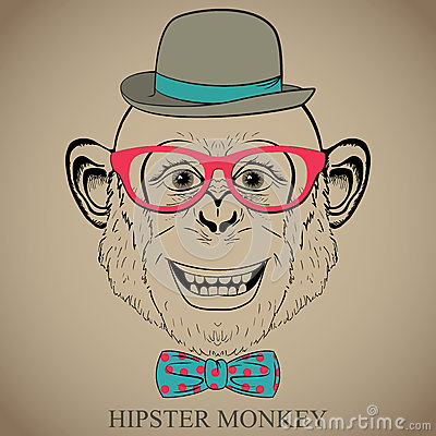 Fashion Hand Drawing Illustration Of Monkey In Glasses Bow Tie And