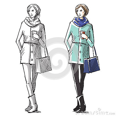 Fashion Hand Drawn Illustration Street Fashion Stock