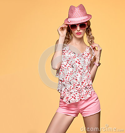 Free Fashion Hipster Girl.Crazy Cheeky Emotion.Pink Hat Royalty Free Stock Photos - 85401118