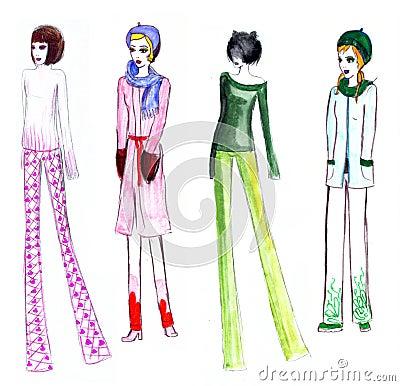 Fashion Illustration Girls Retro Winter Stock