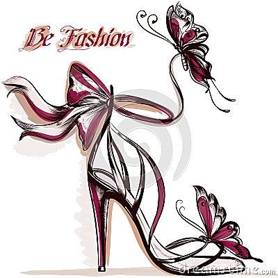 Free Fashion Illustration With Elegant Female Sandals With High Heel Stock Image - 59241861