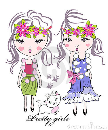 Fashion kid girls with flowers