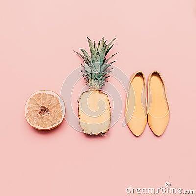 Free Fashion Ladies Summer Style Set. Vanilla Fruits And Shoes Royalty Free Stock Photos - 58941178