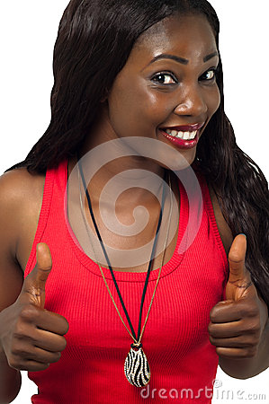 African American lady with thumbs up