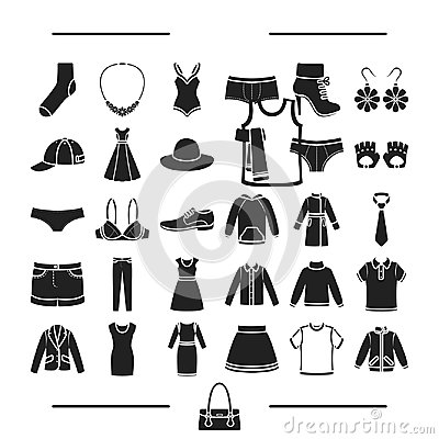 Fashion, lingerie, decorations and other web icon in black style.footwear, knitwear, textiles, icons in set collection. Vector Illustration